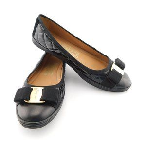Ferragamo Black Quilted Vara Logo Bow Flats 5.5